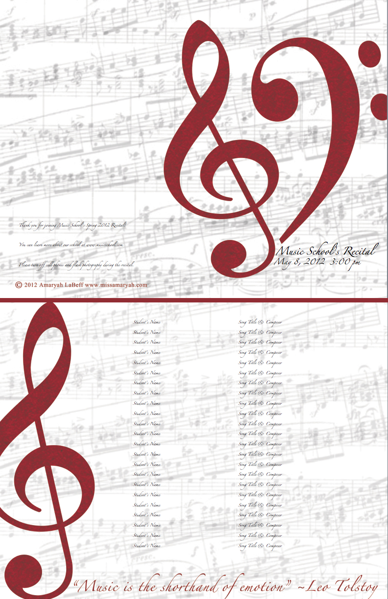 FREE CUSTOMIZABLE RECITAL PROGRAM TEMPLATES |
