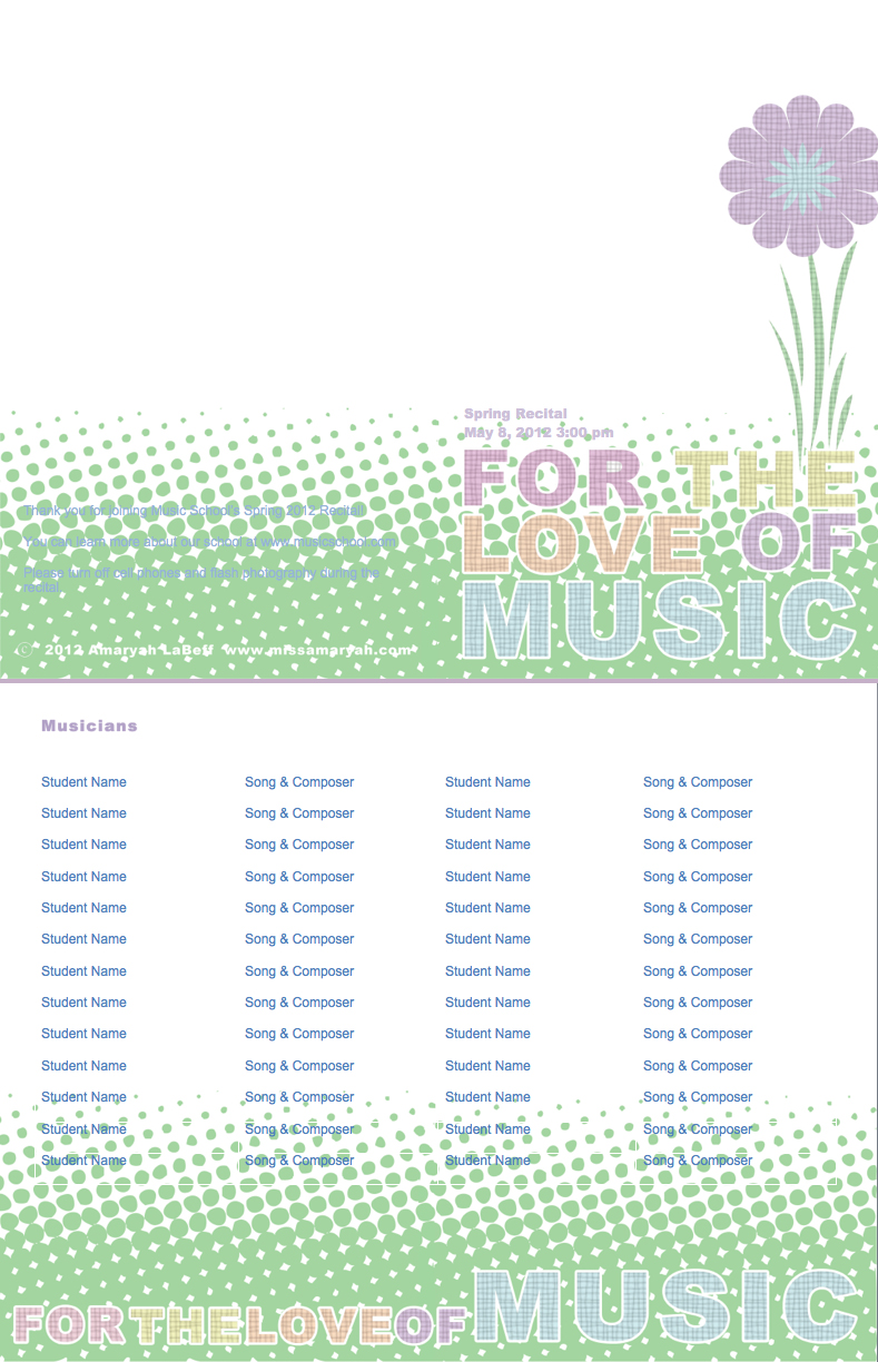 Template For Recital Program Recital Program Templates