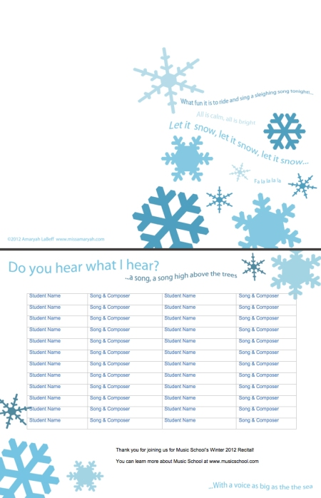 More free customizable recital program templates winter wonderland recital pronofoot35fo Image collections